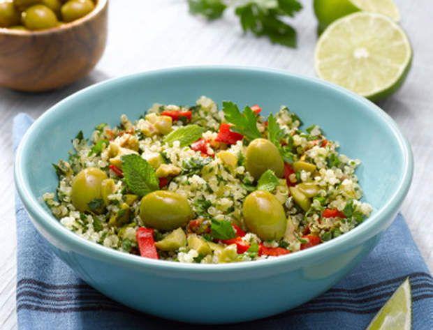 Salade de quinoa aux olives vertesSalade de quinoa aux olives vertes
