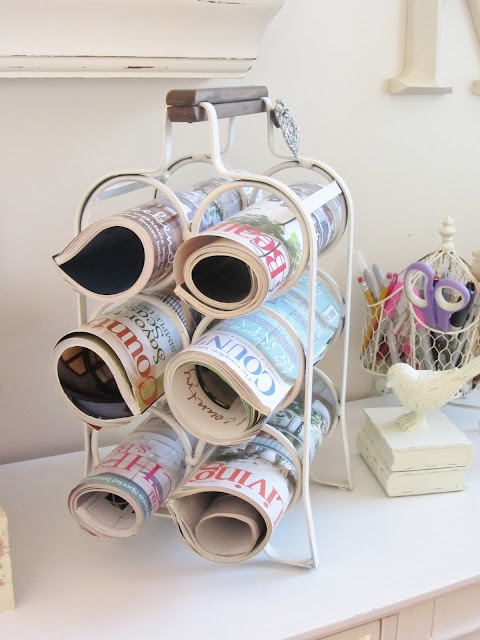 Old wine rack holds current magazines.  Junk Chic Cottage: August 2012