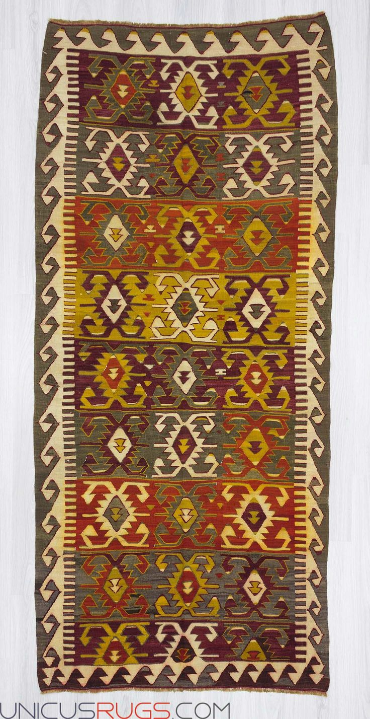 "Handwoven vintage kilim rug from Konya region of Turkey. In very good condition. Approximately 55-65 years old. Wool on wool Width: 3' 10"" - Length: 8' 5""  Colorful Kilims"