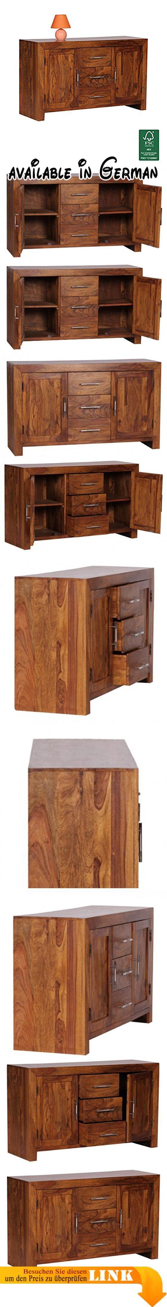 B00GCU4B5C : FineBuy Sideboard Massivholz Sheesham Kommode 118 Cm 3  Schubladen 2 Türen Design Highboard Landhaus Stil Braun Natur Echt Holz ...