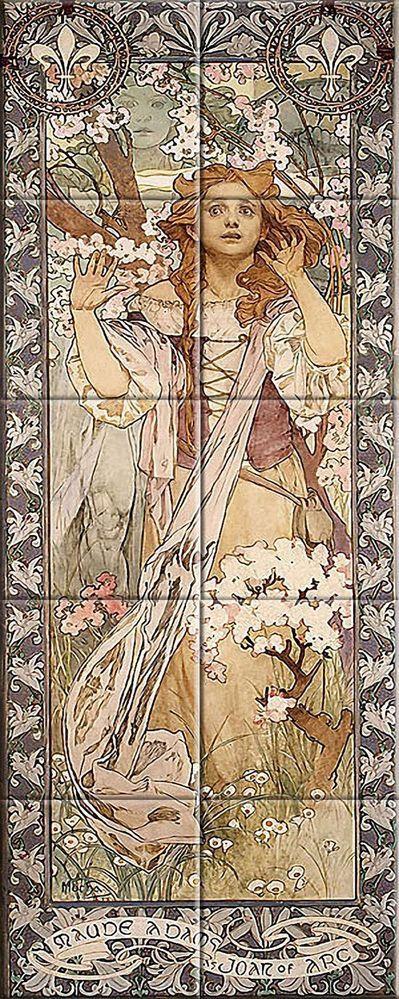 Decorative Tile Ceramic mural Vintage Art Nouveau Illustration Alphonse mucha #3