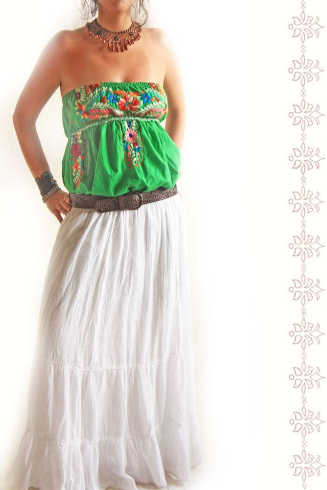 vintage mexican maxi skirt slip fashion style