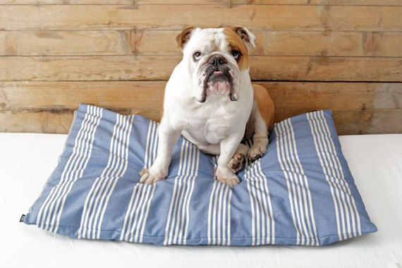 Designer Dog Bed Cover Blue & White Striped by charliebegood