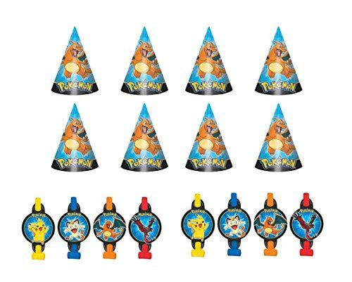 Pokemon Pikachu  friends Party Hats and Blowouts Favor Pack >>> Find out more about the great product at the image link. Note:It is Affiliate Link to Amazon. #halloween