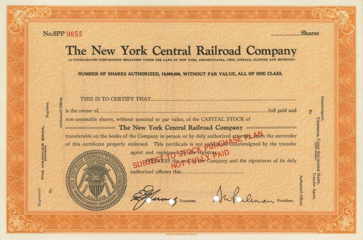 The New York Central Railroad Company - #scripomarket #scriposigns #scripofilia #scripophily #finanza #finance #collezionismo #collectibles #arte #art #scripoart #scripoarte #borsa #stock #azioni #bonds #obbligazioni
