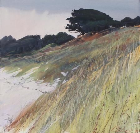 Winter Light, Pentle Beach mixed media Paul Lewin
