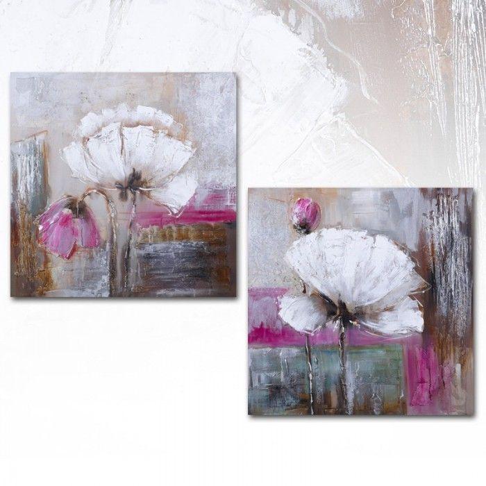 Cuadro Abstracto Flores blanco, díptico lienzo pintura al óleo