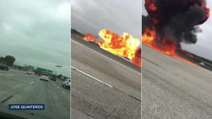 Small plane crashes on 405 Freeway near John Wayne Airport; 2 injured