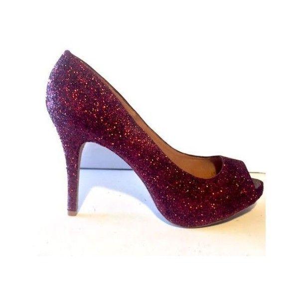 Womens Sparkly Burgundy Maroon Peep Toe Glitter high low Heels wedding... ❤ liked on Polyvore featuring shoes, sparkly shoes, bride shoes, bridal footwear, sparkly bridal shoes and sparkly prom shoes #promshoessparkly #bridalshoeshighheels