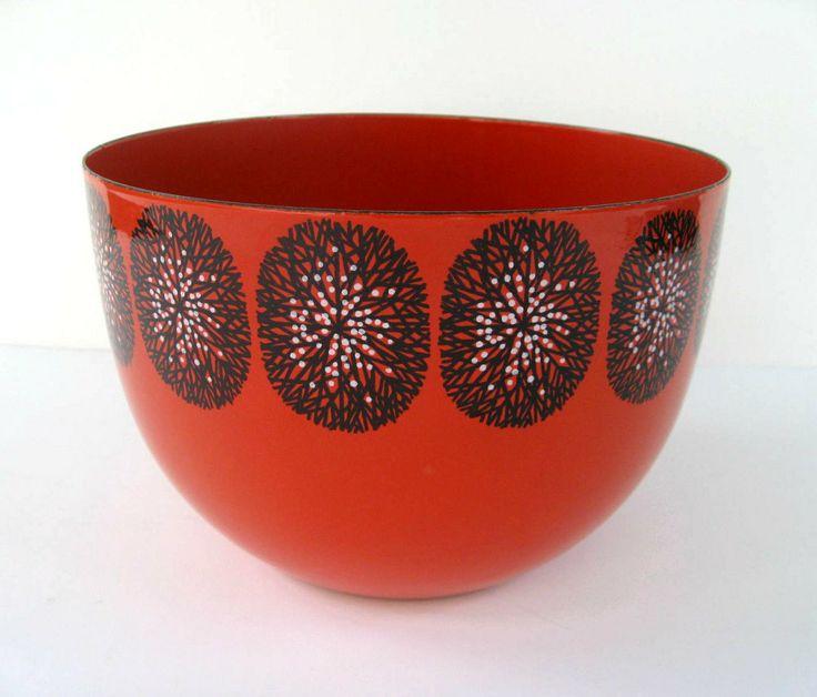 Kaj Franck Finel Enamel Bowl - Red with Black and White Trees. SplendidJunk