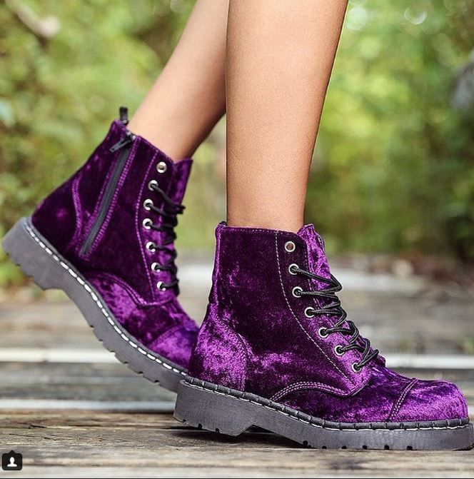 Purple Velvet 7 Eye Combat Boots from T.U.K Shoes <3 www.beserk.com.au/t-u-k-shoes #tukshoes #beserk #velvet #combatboots