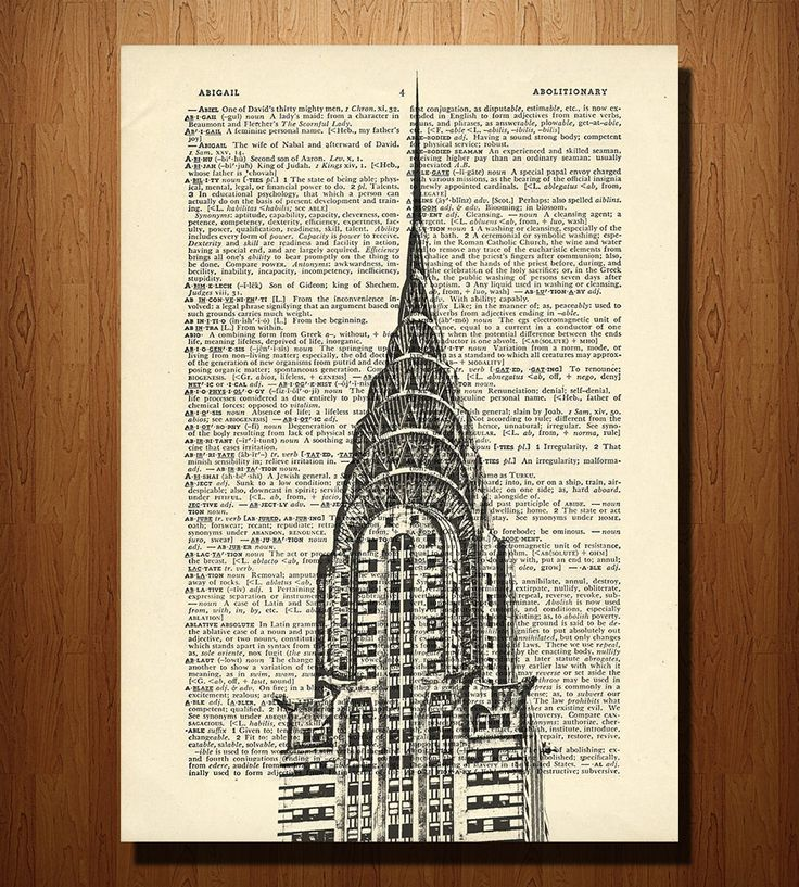 Chrysler Building Print on Vintage Dictionary Paper | Art Prints | DarkIslandCity | Scoutmob Shoppe | Product Detail