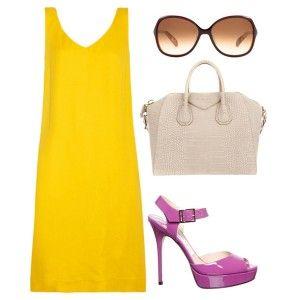 С чем носить фиолетовые босоножки: ярко-желтое платье, белая сумка, солнцезащитные очки
