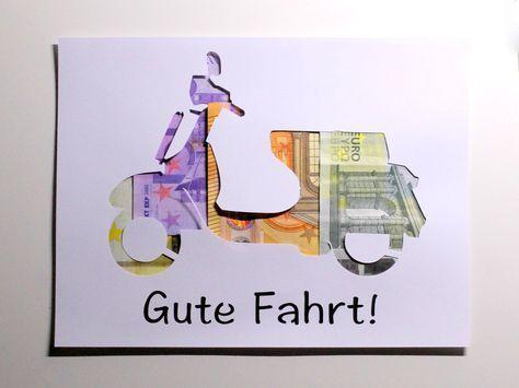 Sonstiges – Geldgeschenk Führerschein Moped Motorrad Farbwahl – Ein Designer-Zeug …   – Geburtstagsgeschenke | Happy Birthday