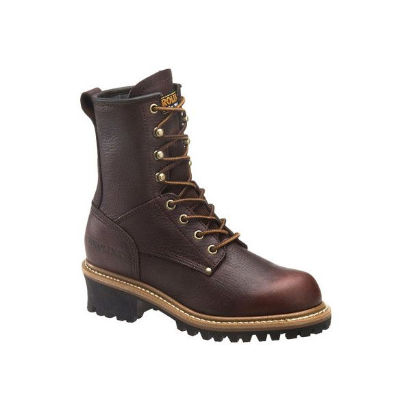 "Women's Carolina 8"" Steel Toe Logger CA1421 Boot - Dark Brown Soggy... ($110) ❤ liked on Polyvore featuring shoes, boots, brown, brown leather boots, safety toe boots, leather lined boots, steel toe boots and brown leather shoes"