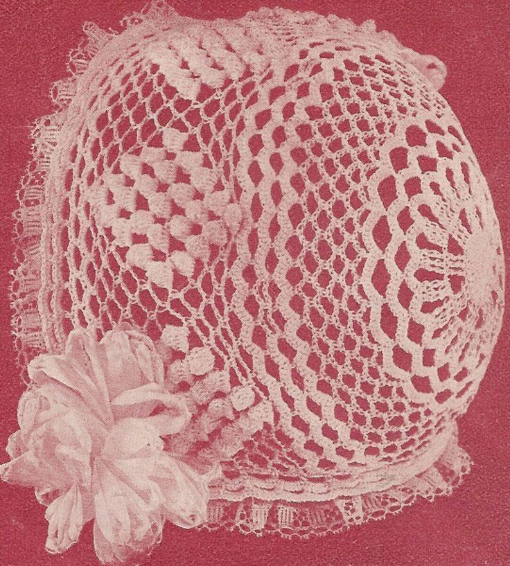Crochet Thread Baby Bonnet Pattern : Thread Crochet Baby Bonnet Pattern Free Crochet Baby ...