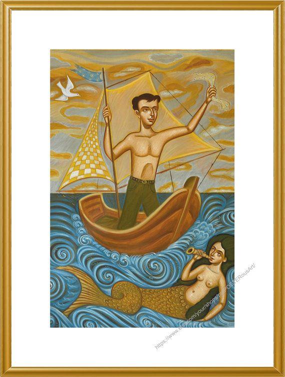 Greek Folk Art Saillor & Mermaid / Limited by prePOSTERousArt