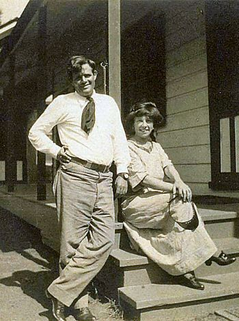 Jack and Charmian London, ca. 1911, at the old Winery Cottage, their home at Beauty Ranch