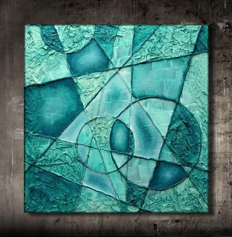 BIG original TEXTURED painting Turquoise door HerArtFromTheAttic
