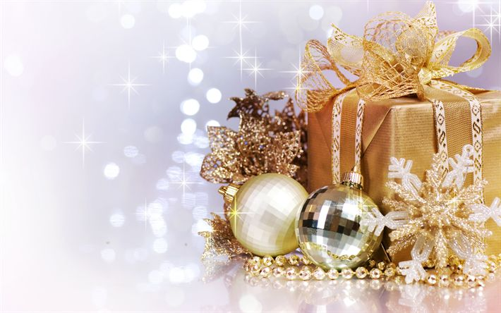 Download wallpapers Christmas, golden box, gifts, golden star, New Year, Christmas decoration