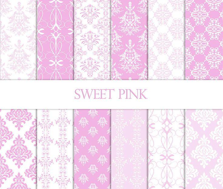 Pink Damask Digital Paper-Baby Pink Damask by digitalbroccoli