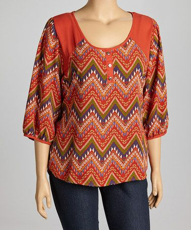 Another great find on #zulily! Orange Country Zigzag Top - Plus by Spin #zulilyfinds