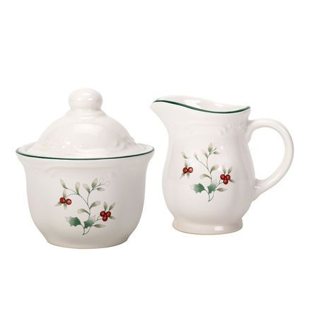 Sugar Bowl and Creamer Set 'Winterberry' Pattern