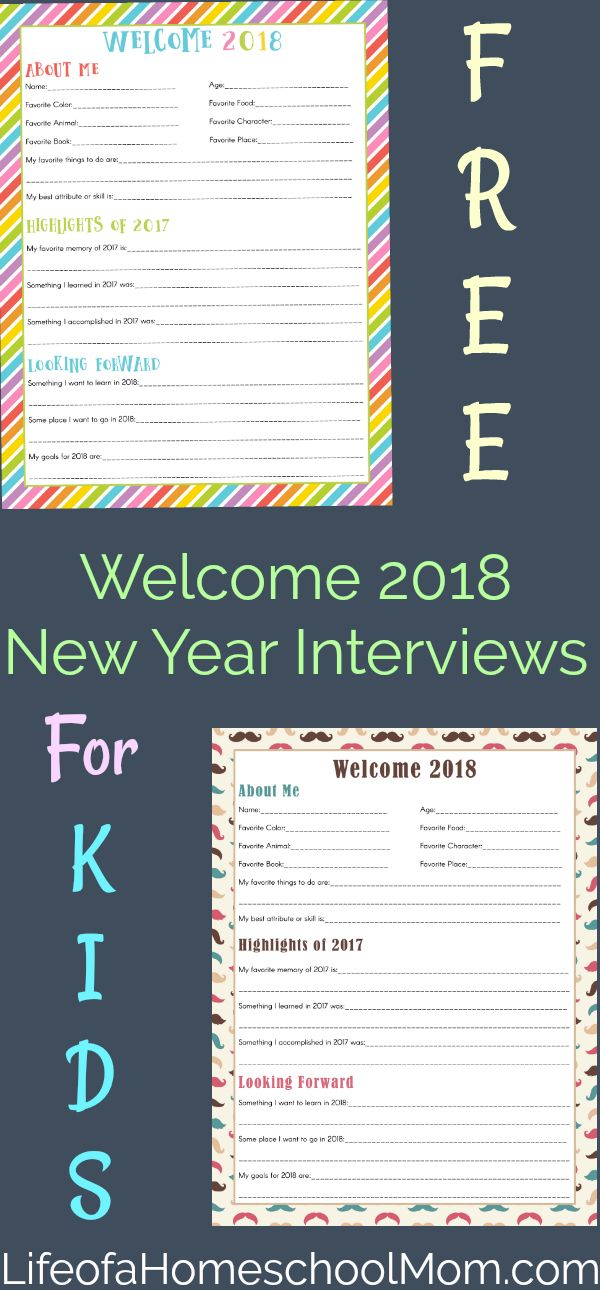 Help your children say goodbye to 2017 and welcome 2018 with these fun New Year Interviews.