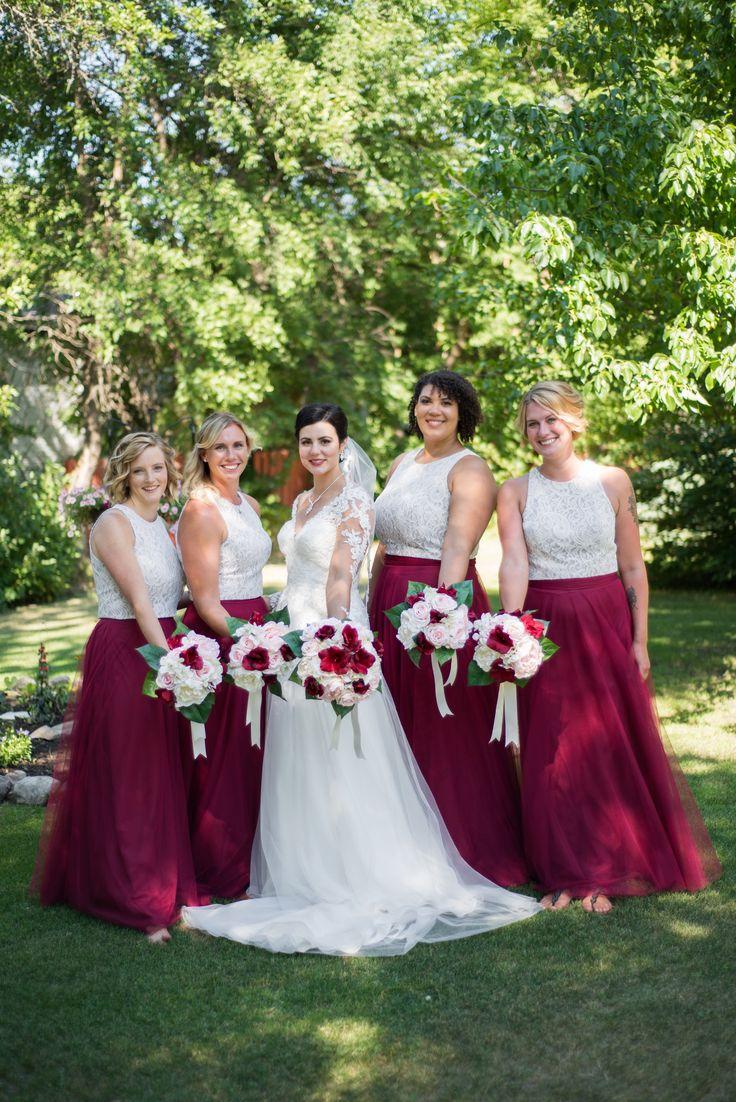 Bride and bridesmaids #marsala #blushpink #ivory #dessydresses