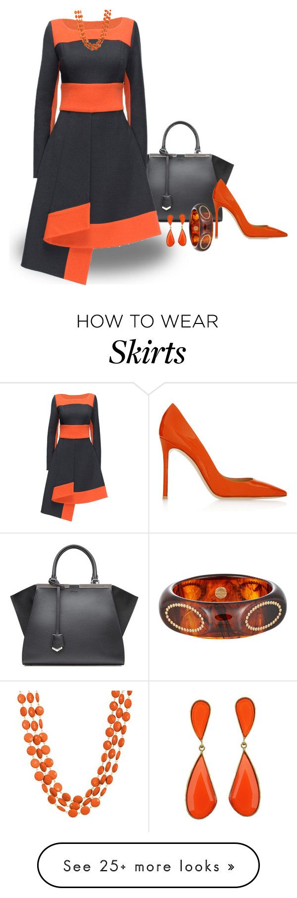 """Twist Skirt"" by stileclassico on Polyvore featuring Fendi, Lattori, Gianvito Rossi, Towne & Reese, Mark Davis, Fall and orange"