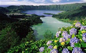 The allure of the #Azores    via The Telegraph   2/05/2014 Located in the mid-Atlantic, the Azores offers captivating natural beauty and charming areas of secluded holiday bliss. #Portugal Photo: View of Lagoa Verde and Lagoa Azul, the Azores