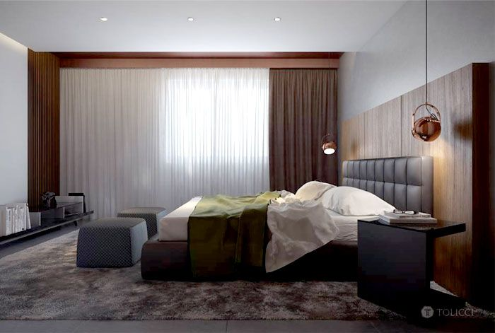 Stilish Bedroom by Studio Tolicci carpet medium height pile shade gray color