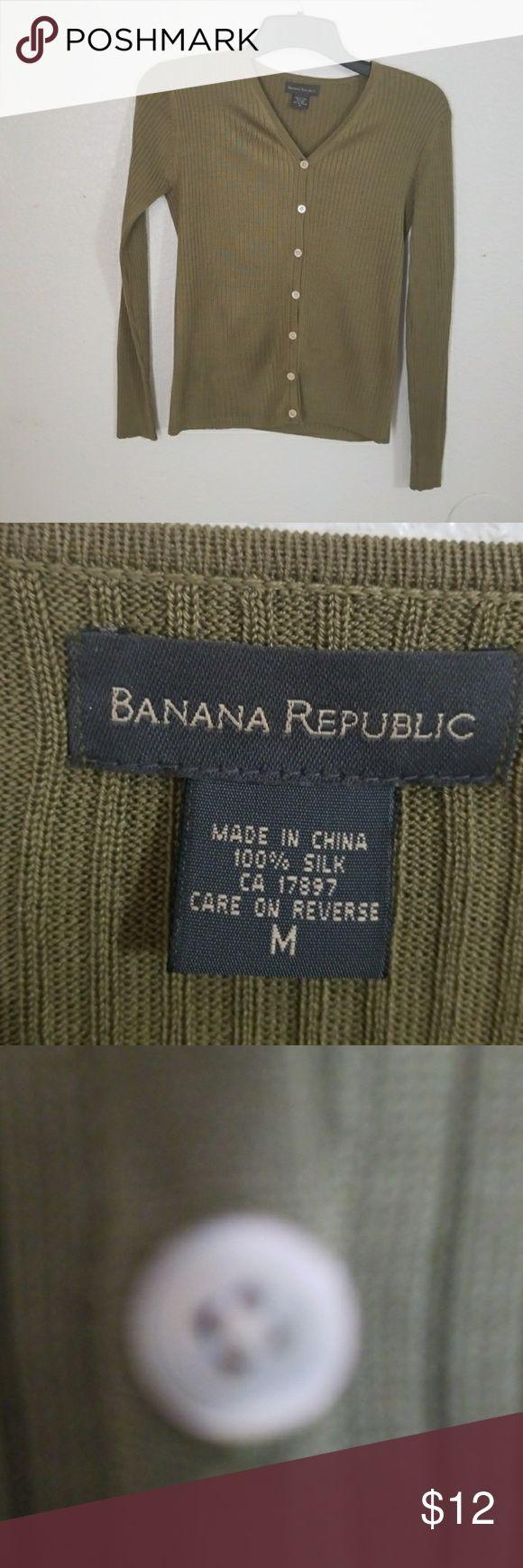 BANANA REPUBLIC   Cardigan Sweater 100% Silk Banana Republic L Cardigan Sweater V-neck Rib Knit 100% Silk Long Sleeve,  Like New Ribbed Pattern All Season Medium is Size 8/10 Waist 29/30 Bust 36/37 Hip 39/40 Sleeve Length 33 Banana Republic Sweaters Cardigans