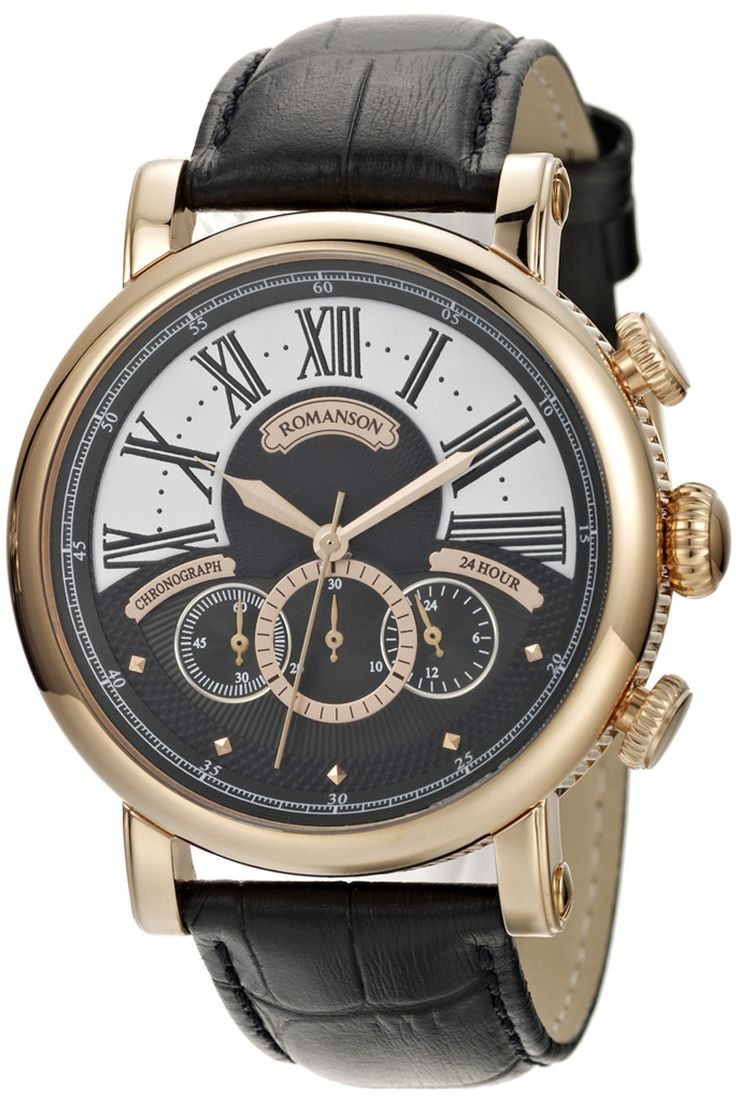 Timepiece Theatre - TL9220BM1RA36R - Romanson Rose Gold Quartz Retro Steampunk Men's Watch with Chronographed Dial, $395.00