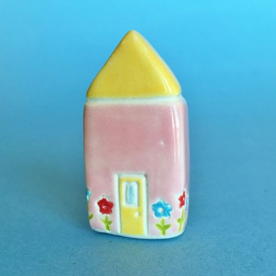 Little Cottage House Collectible Ceramic by thelittlereddoor