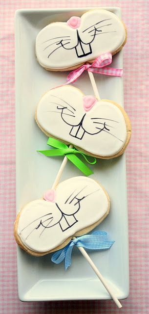 Easter Bunny Face Cookie Pops - Use Your Favorite Sugar Cookie Recipe