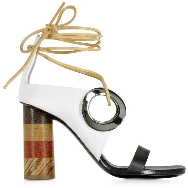 Proenza Schouler Shoes Black and White Leather Open Toe Sandal... ($1,100) ❤ liked on Polyvore featuring shoes, sandals, black white sandals, wood heel sandals, tie sandals, leather sole sandals and wrap sandals