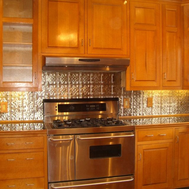 Kitchen Backsplash With Oak Cabinets 33 best tin backsplash images on pinterest | white kitchens, tin