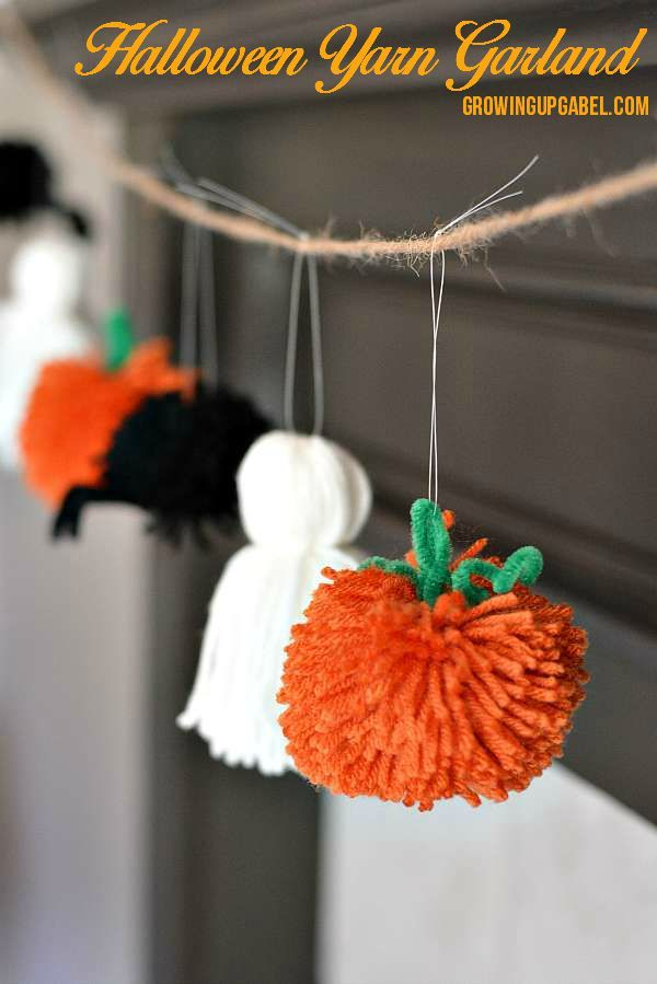 Easy Halloween Garland from Yarn If you don't want the creepy decorations, make a simple garland and hang Halloween's symbols for that cute yet festive decor.