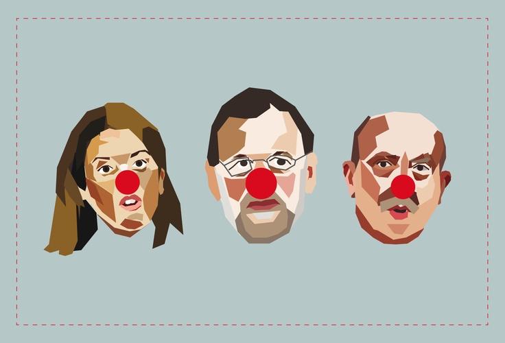 Payasos  {Buffoon Spanish Politicians}  #Vectorial illustration