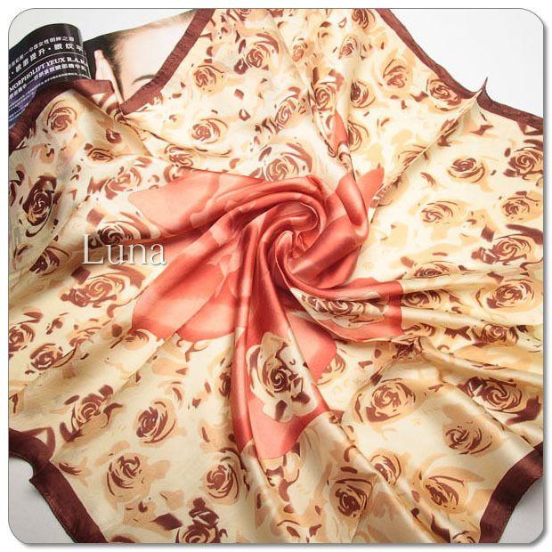 New LUNA 100% Silk Multi-Color Floral Crepe Satin Scarf Size: 33.4*33.4inch #LUNA #Scarf