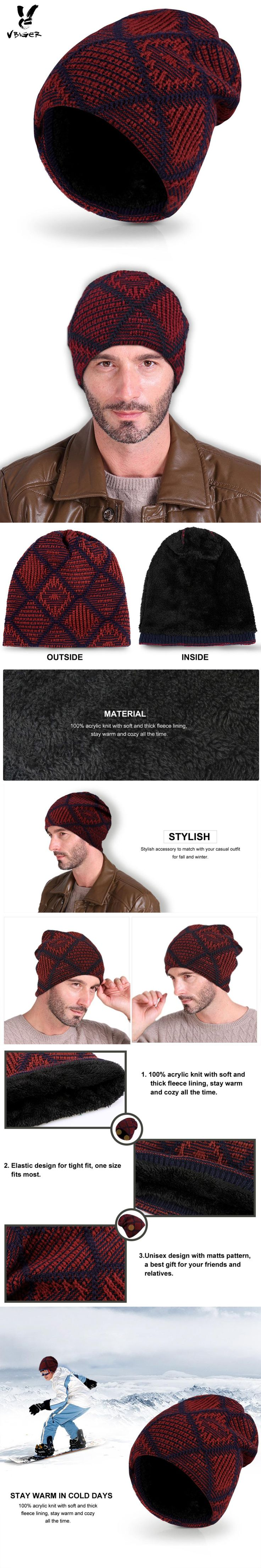 Vbiger Winter Hat Slouchy Skullies Beanies Warm Knitted Skull Cap Lined Ski Snowboard Hat with Thick Fleece Lining for Men Women