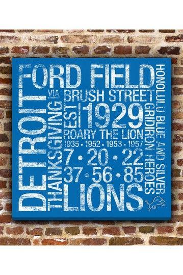 """Detroit Lions Square Subway Art - 24"""" x 24"""" by Fan Favorite Football Art on @HauteLook"""