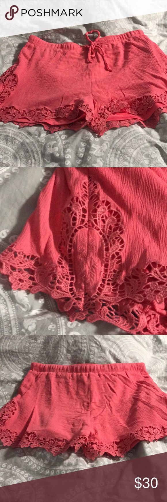 Pink lace shorts Mint julep Boutique rayon shorts. Worn once, these are super light and flowy. For ref I am usually a size 6-8 and these fit perfect Mittoshop Shorts