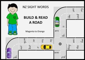A fantastic sight word activity . particularly for your boys.Build a road and drive a toy car along it, reading the sight words as you drive past them. For sight words at the Magenta, Red, Yellow, Blue, Green and Orange levels of the NZ reading colour wheel.You can use this resource to make up all sorts of activities and games.