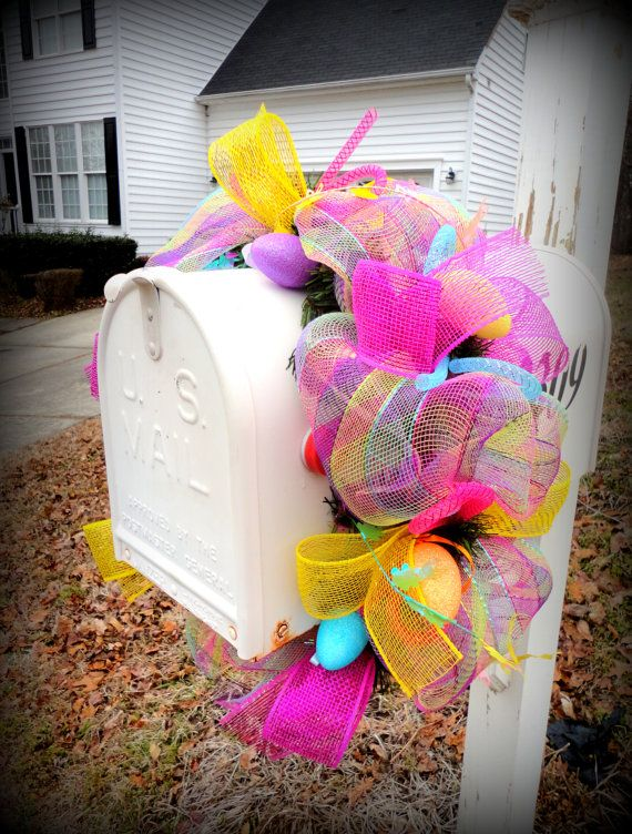 Easter Mailbox Garland / Swag  Spring Mailbox by SparkleWithStyle, $38.00