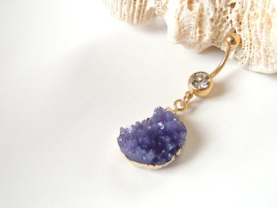 Purple Gold Faux Druzy Belly Button Ring