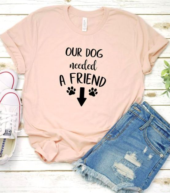 Pregnancy announcement shirt, our dog needed a friend, pregnant shirt, pregnancy …   – Pregnancy Announcements