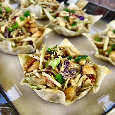 Thai Peanut Slaw in Won Ton Cups - shape cups on bottom of muffin tin to make larger cups