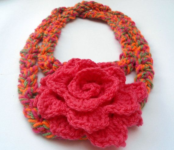 Crochet Flower Scarf Necklace  Colorful Scarf by CRAZYBOOM on Etsy